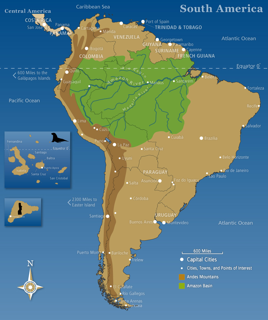 Amazon River In South America Map.Map Of South America Southwind Adventures