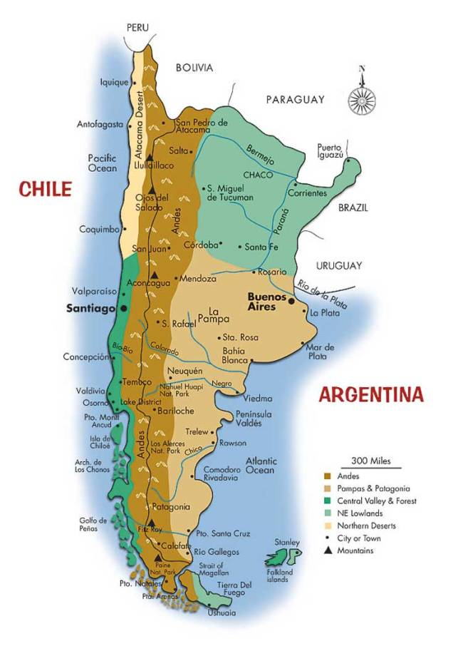 Map of Argentina and Chile Southwind Adventures