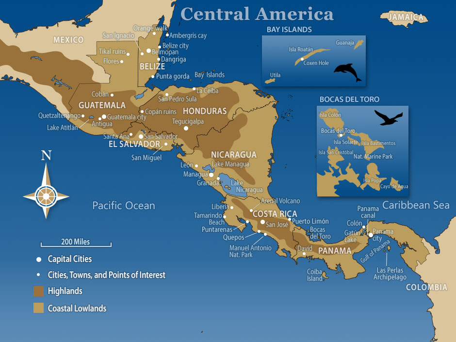 Map of Central America - Southwind Adventures