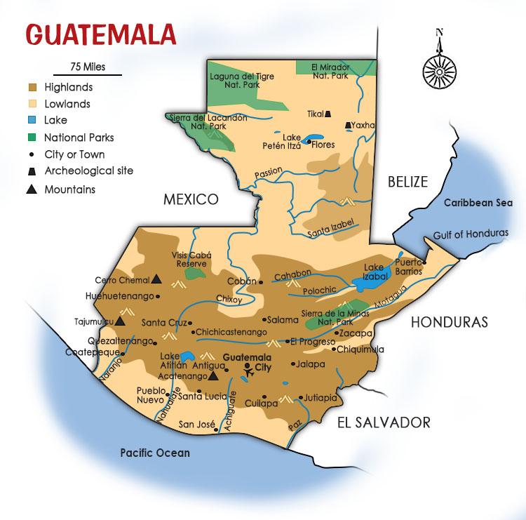 Guatemala Map Southwind Adventures - Guatemala map