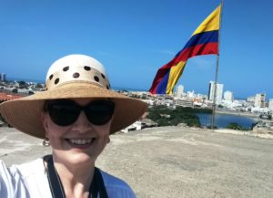 Dana enjoying the view of modern Cartagena